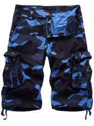 Camo Cargo Shorts with Flap Pockets - BLUE