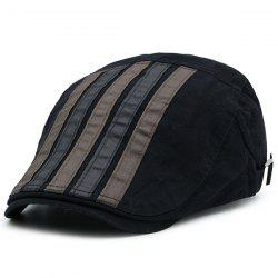 Vintage Striped Splicing Cabbie Hat - Noir