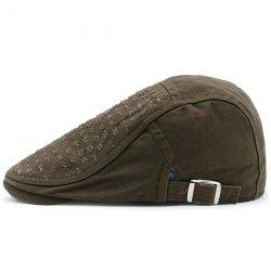 Tiny Frayed Holes Design Newsboy Hat - COFFEE