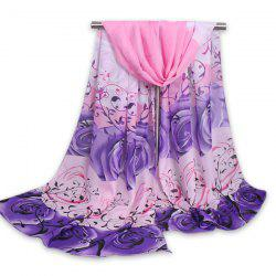 Gauze Fancy Cirrus Rose Printing Shawl Scarf - LIGHT PURPLE