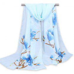 Floral Branch Printed Chinoiserie Shawl Scarf