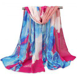 Floral Pattern Printed Gossamer Multicolour Shawl Scarf
