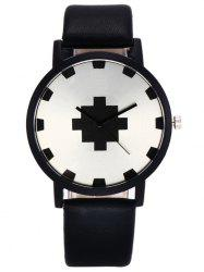 Faux Leather Strap Geometric Face Watch