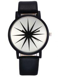 Faux Leather Strap Star Quartz Watch - BLACK