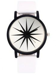 Faux Leather Strap Star Quartz Watch - WHITE