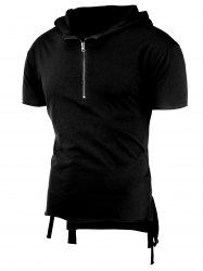 Half Zip Hooded High-Low T-Shirt