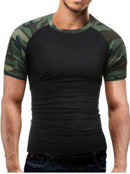 Camo Print Panel Raglan Sleeve T-Shirt - BLACK