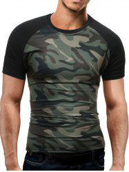 Raglan Sleeve Camo T-Shirt - GREEN