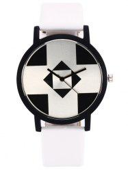 Faux Leather Geometry Quartz Watch