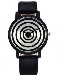 Faux Leather Strap Target Face Quartz Watch