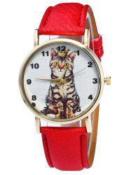 Faux Leather Cat Pattern Number Watch