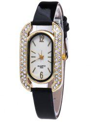 Faux Leather Rhinestone Oval Quartz Watch
