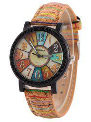 Wood Pattern Number Quartz Watch