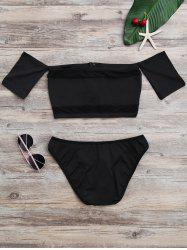Off The Shoulder High Cut Mesh Bikini Set -