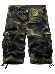 Camo Cargo Shorts with Flap Pockets