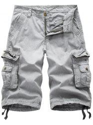 Zip Fly Flap Pockets Cargo Shorts