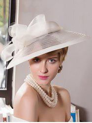 Organza Bowknot Wide Brim Cocktail Hat