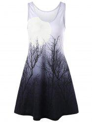 Night Scene Tree Printed Mini Tank Dress - COLORMIX