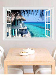 Revemovable 3D Seascape Faux Window Wall Sticker - BLUE