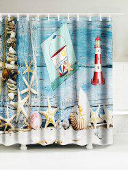 Starfish Shell Lighthouse Waterproof Bath Curtain