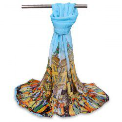 Chiffon Cartoon City Life Gossamer Shawl Scarf - LIGHT BLUE