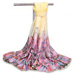 Chiffon Cartoon City Life Gossamer Shawl Scarf