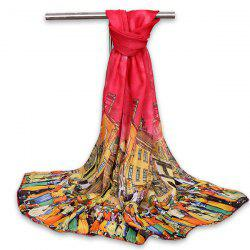 Chiffon Cartoon City Life Gossamer Shawl Scarf - RED