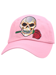 Sunscreen Skull Rose Embroifery Baseball Cap - PINK