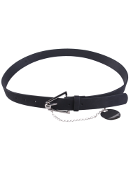 Faux Leather Metal Link Trangle Buckle Belt - BLACK