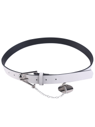 Faux Leather Metal Link Trangle Buckle Belt