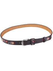 Flower Embroidered Ethnic Faux Leather Belt - COFFEE