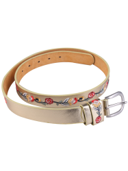 Flower Embroidered Ethnic Faux Leather Belt -