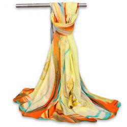 Watercolour Flowers Vintage Chiffon Gauze Shawl Scarf