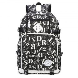 Buckle Straps Letter Print Backpack