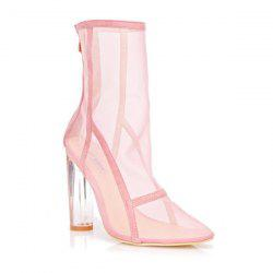 Zipper Mesh Clear Heel Boots