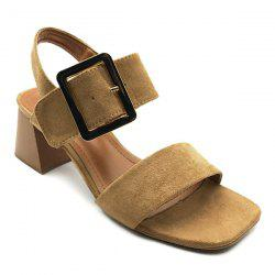 Mid Heel Buckle Strap Sandals