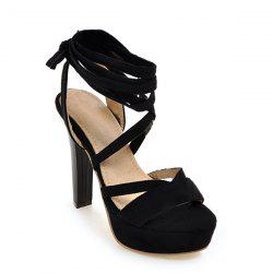 Platform Tie Up Chunky Heel Sandals - BLACK 38