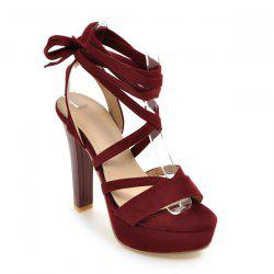 Platform Tie Up Chunky Heel Sandals - DEEP RED