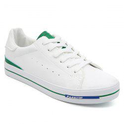 Faux Leather Colour Block Athletic Shoes - WHITE AND GREEN