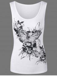 Butterfly Print Scoop Neck Tank Top