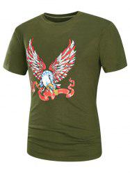 Cartoon Eagle Graphic Print Short Sleeve T-Shirt
