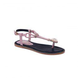 Faux Pearls T Bar Flat Sandals