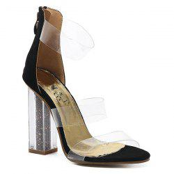 Transparent Plastic Crystal Heel Sandals