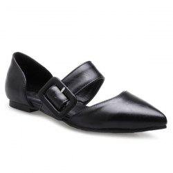 PU Leather Belt Buckle Flat Shoes - BLACK