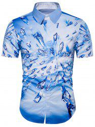 Cover Placket 3D Ice Print Shirt