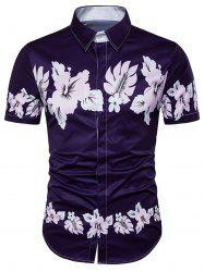Florals Print Cover Placket Hawaiian Shirt