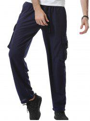 Pockets Plastic Buckle Design Cargo Sweatpants
