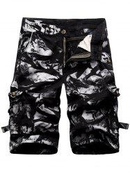 Zipper Fly Cargo Shorts with Multi Pockets - BLACK 38