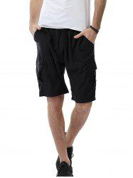 Pockets Design Drawstring Cargo Sweat Shorts