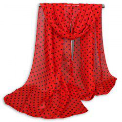 Gossamer Tiny Polka Dot Shawl Scarf - RED